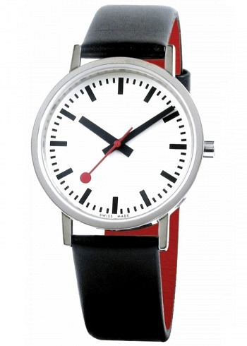 A660.30314.16OM, Mondaine, Classic Pure 36mm, White Dial, Black Leather Strap