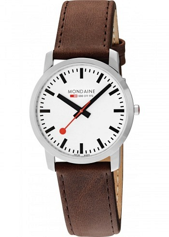 A638.30350.11SBG, Mondaine, Simply Elegant 41mm, White Dial, Brown Leather Strap